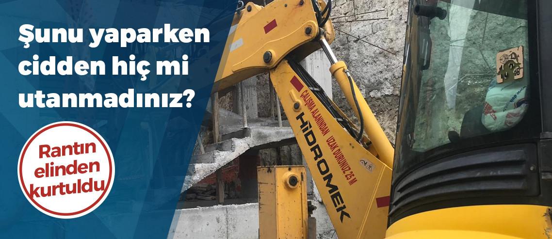 Peribacaları yanındaki otel inşaatının yıkım çalışması başladı