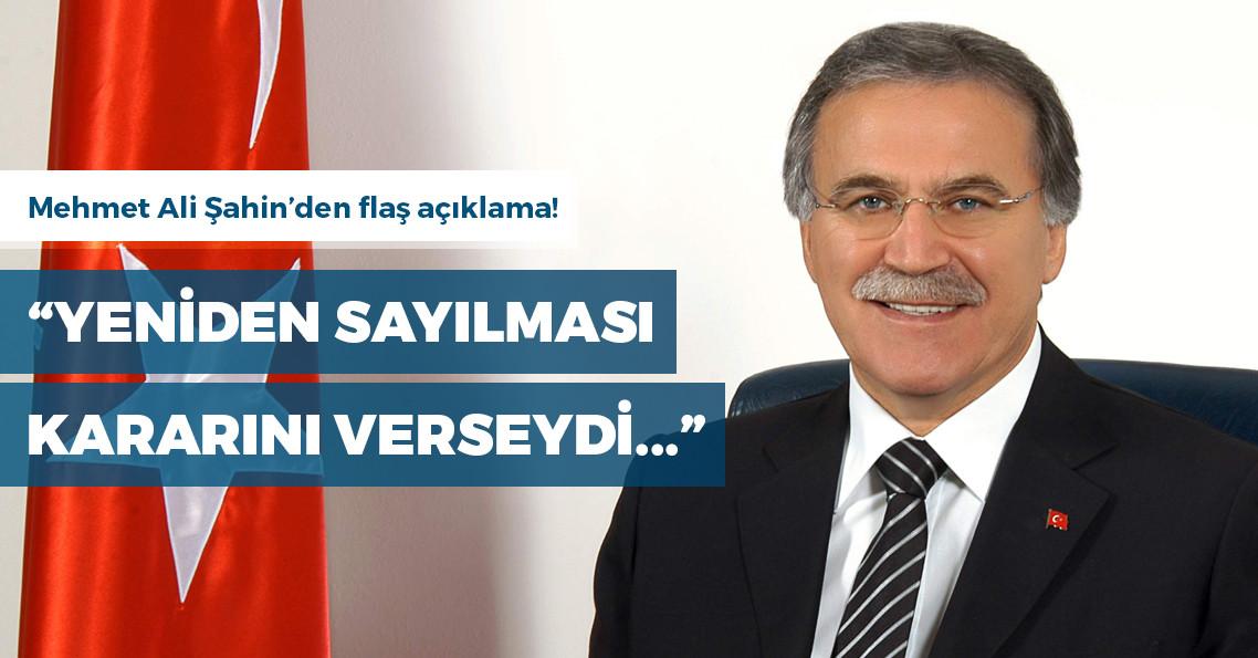 """Eski TBMM Başkanı Şahin: """"YSK, keşke tüm sandıkların sayılması kararını verseydi"""""""