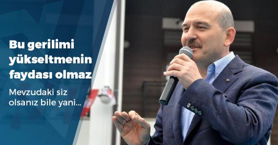 """Soylu: """"Bir yandan PKK'nın siyasi koluyla ortaklık kurup, olayları İçişleri Bakanı'na yıkmak doğru değildir"""""""