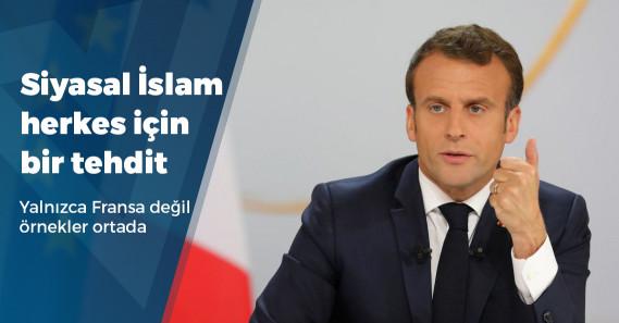 """Macron: """"Siyasal İslam, Fransız Cumhuriyeti'ni bölmeye yönelik bir tehdit"""""""