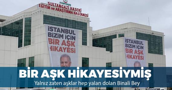 Araştırma hastanesine Binali Yıldırım'ın afişleri asıldı
