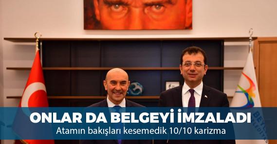 """Ekrem İmamoğlu ve Tunç Soyer """"şeffaflık"""" taahhütnamesini imzaladı"""